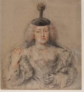 7. Peter Paul Rubens (1577-1640) Portrait of Helena Fourment, c. 1630-31 Black and red chalk heightened with white, pen and ink  612 x 550 mm © The Courtauld Gallery, London