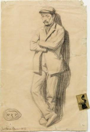 Pablo Picasso Hombre apoyado en una pared Barcelona, marzo de 1899 Lápiz Conté sobre papel e ilustración pegada en el margen derecho 49 × 32,7 cm Museu Picasso, Barcelona © Sucesión Pablo Picasso, VEGAP, Madrid 2012