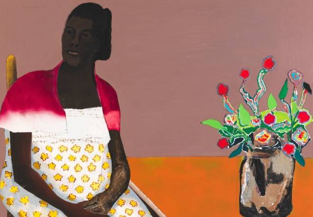 Benny Andrews, Portrait of Black Madonna, 1987 , oil and collage on canvas, Smithsonian American Art Museum, Gift of the Andrews Humphrey Family Foundation, © Estate of Benny Andrews/Licensed by VAGA, New York, NY