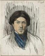 Pablo Picasso, Self-Portrait, 1901/1902, black chalk and watercolor, National Gallery of Art, Washington, Ailsa Mellon Bruce Collection
