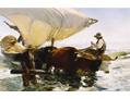 Retour de la peche, halage de la barque. 19eme siecle