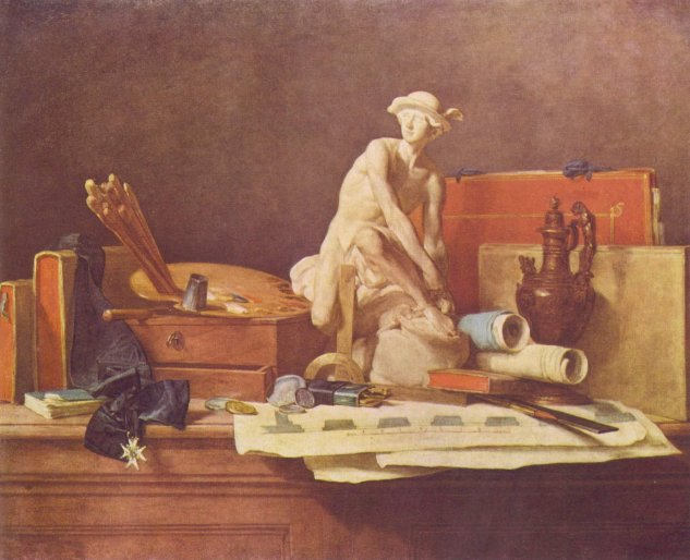 chardin still life with the attributes of the arts hermitage museum