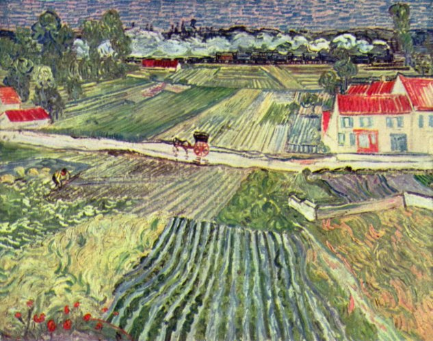 gogh landscape with cart and train 1890 pushkin museum