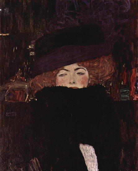klimt lady with hat and feather boa 1909 oesterreichische galerie belvedere