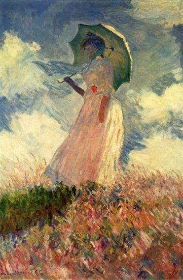 monet mujer con sombrilla mirando a la izquierda museo dorsay