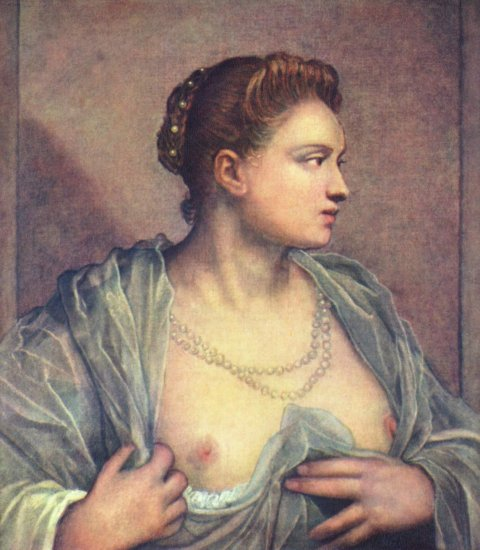tintoretto portrait of a young venetian woman baring her breasts prado