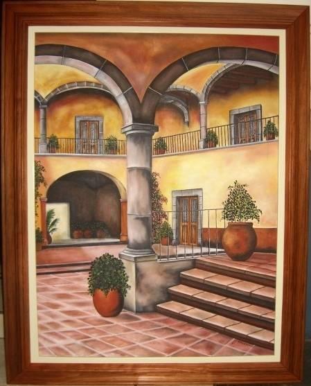 Patio colonial mexicano joseph delatorre - Cuadros estilo colonial ...