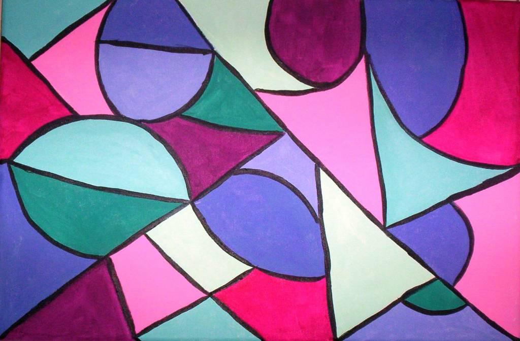 Geometrico en tonos pastel silvia elena gallardo for Cuadros con formas geometricas
