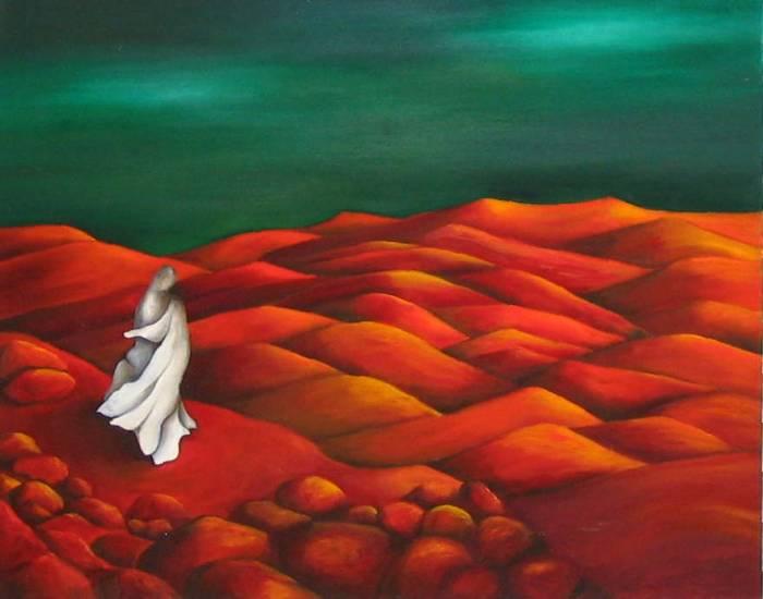 mujer mirando al desierto rojo nora cobe  Artelistacom