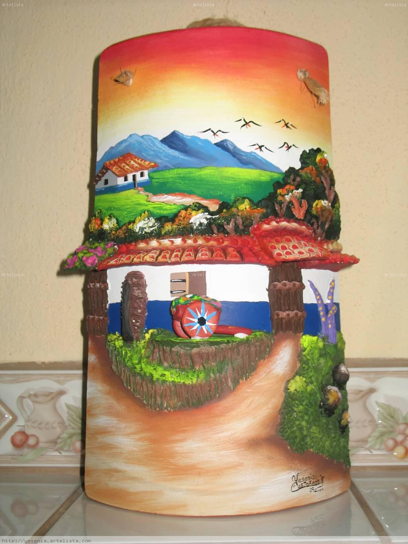 Teja con carreta muro y casita yesenia casta eda for Pintura para tejas