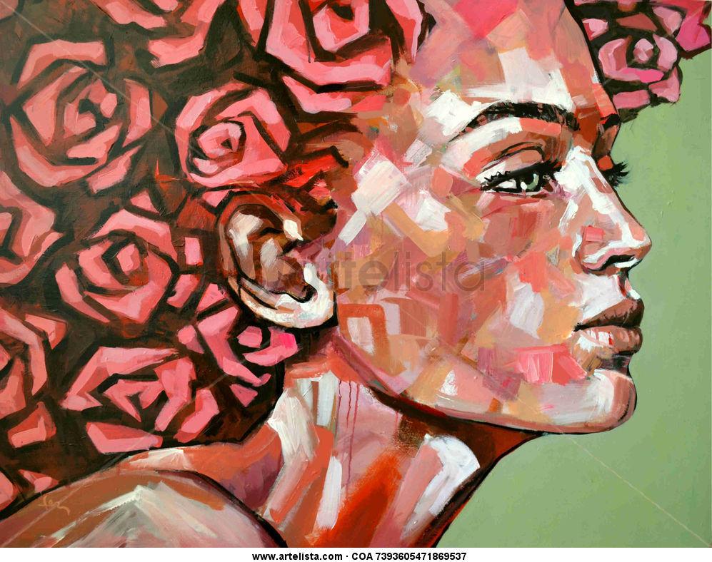 Primavera Acrylic Portrait Textile
