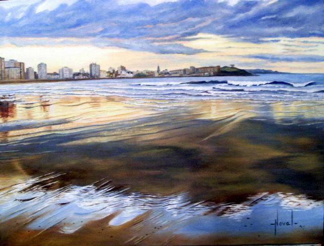 Puesta de sol playa de san lorenzo gijon rosa maria noval - Pintores en gijon ...