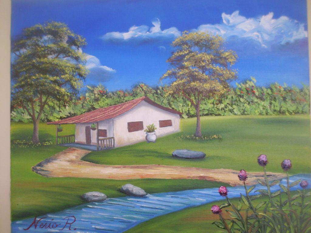 paisaje de casa y rio nerio reyes