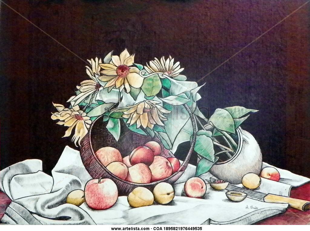Canasta Con Flores Y Frutas Alberto Urias Artelistacom