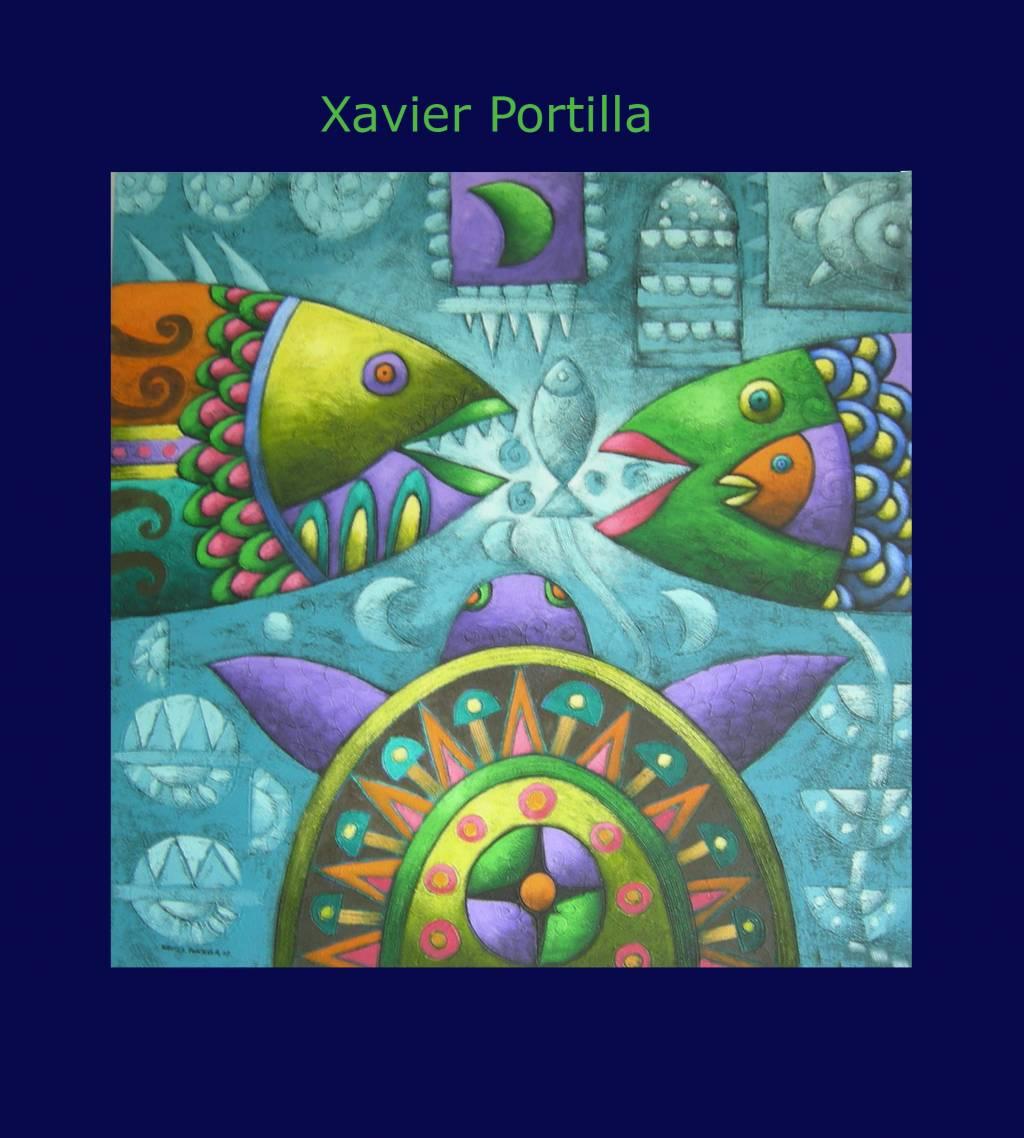 Tortuga y peces xavier portilla for Cuadros de peces