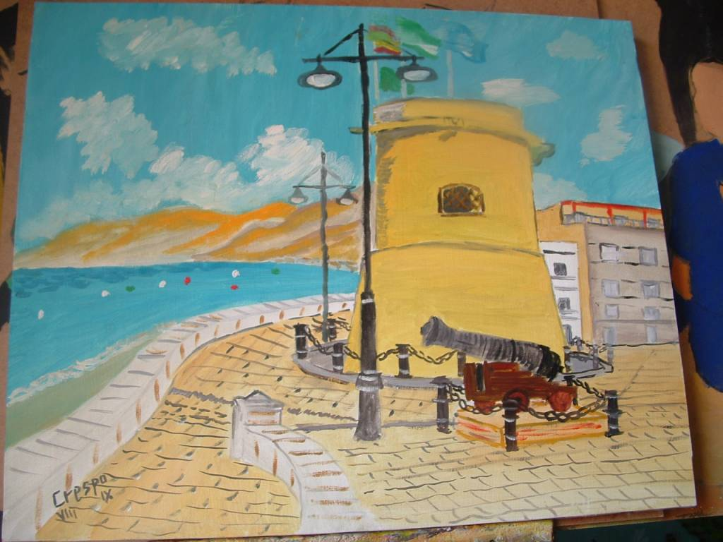 Torre de balerma con ca n leo sobre lienzo en bastidor - Lienzo sobre bastidor ...