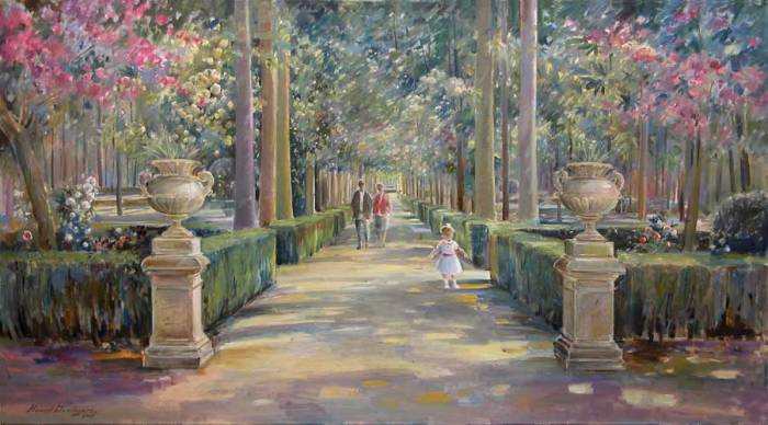 Jardines del palacio real de aranjuez manuel dom nguez - Oleos de jardines ...