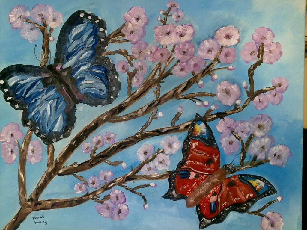 Mariposas sobre almendro manoli hormigo mar n for Pintura para estanques de peces