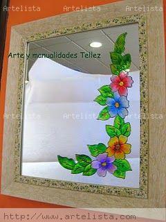 Espejo decorado arte y manualidades tellez - Manualidades espejos decorados ...