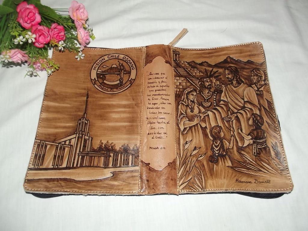 Cubre escrituras de cuero pirograbados marqui o olivares - Como hacer un libro antiguo ...