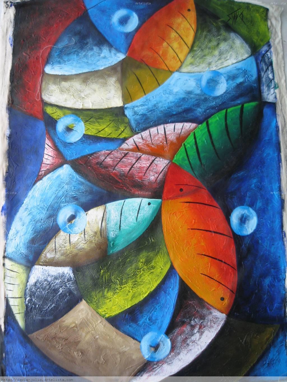 Azul abstracto peces davis julio - Cuadros con peces ...