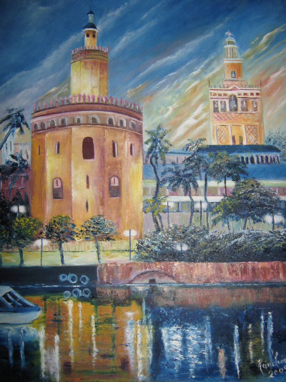 La torre del oro y la giralda en sevilla reina leon for Todo pintura sevilla