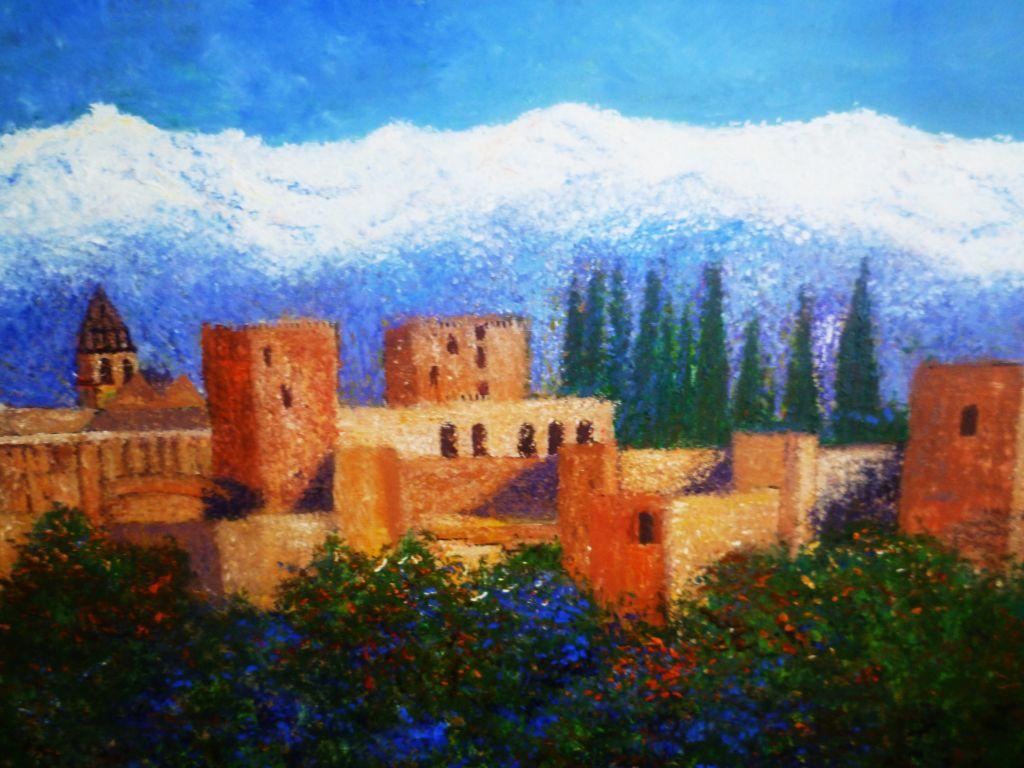 La alhambra de granada inmaculada gonz lez peregrina - Pinturas arenas granada ...