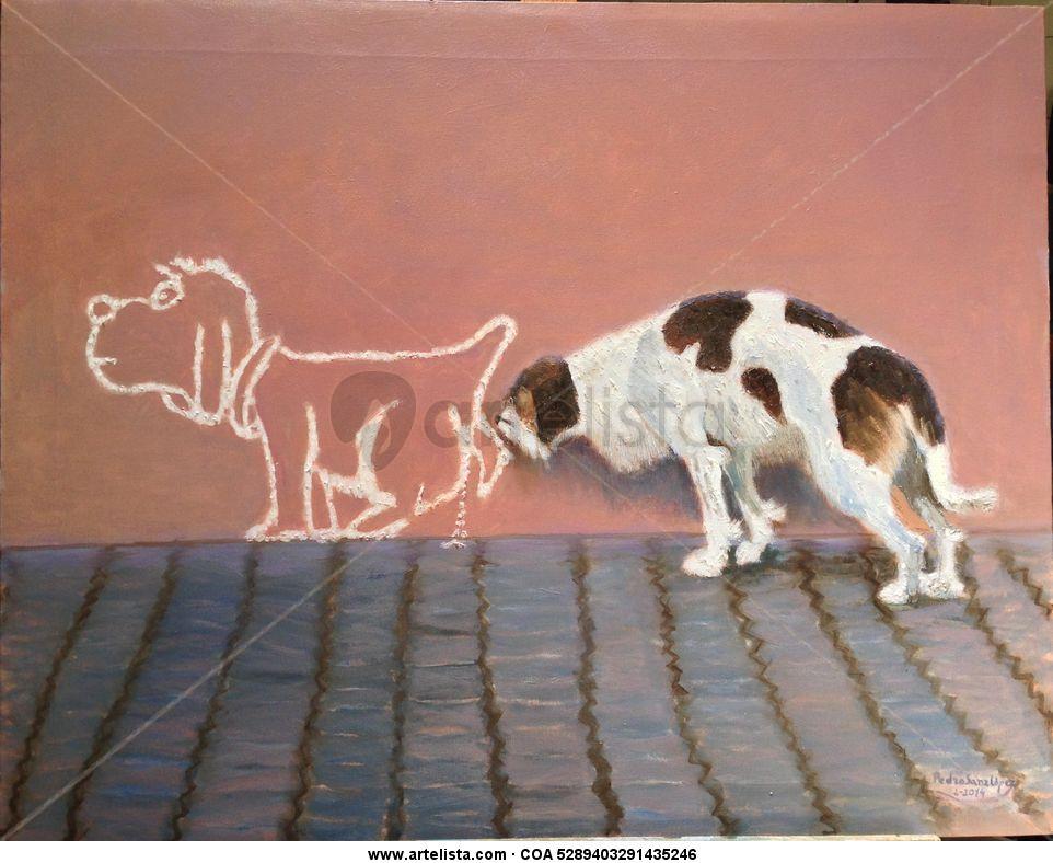 Perro,oliendo,mascotas,trampantojos,grafitis,pintura,dibujos ...
