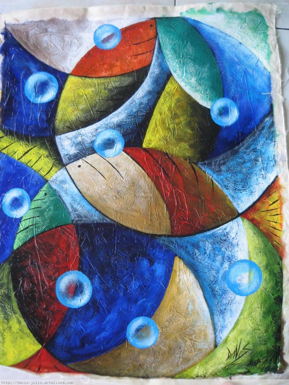 Azul abstracto peces ii davis julio for Cuadros de peces