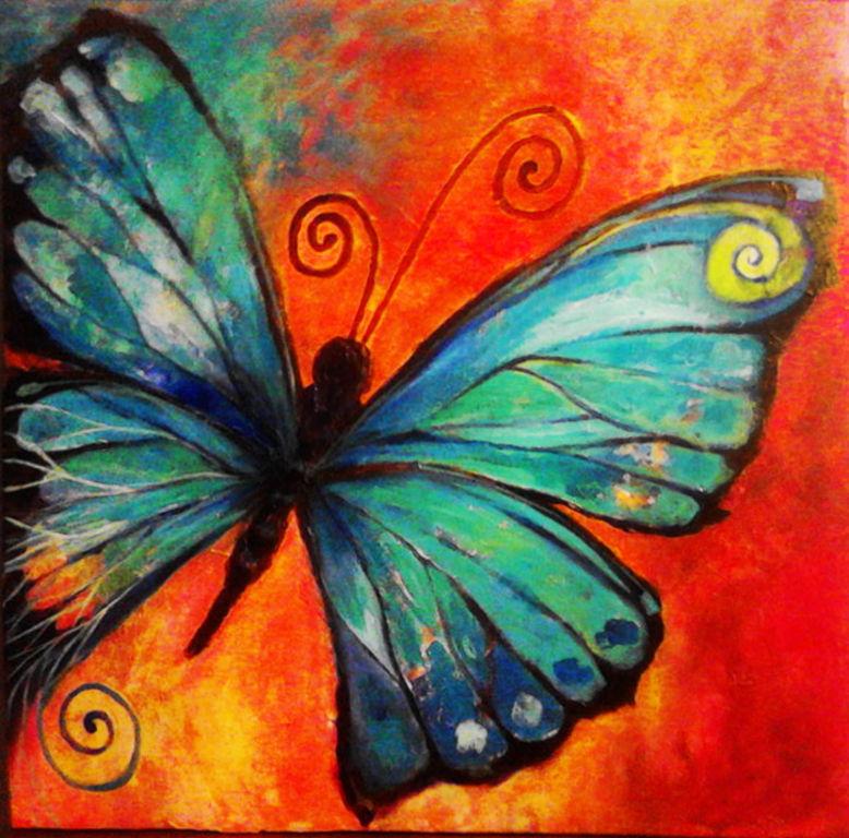 Mariposa azul ana pilar gonzalez leiva - Cuadros con colores calidos ...