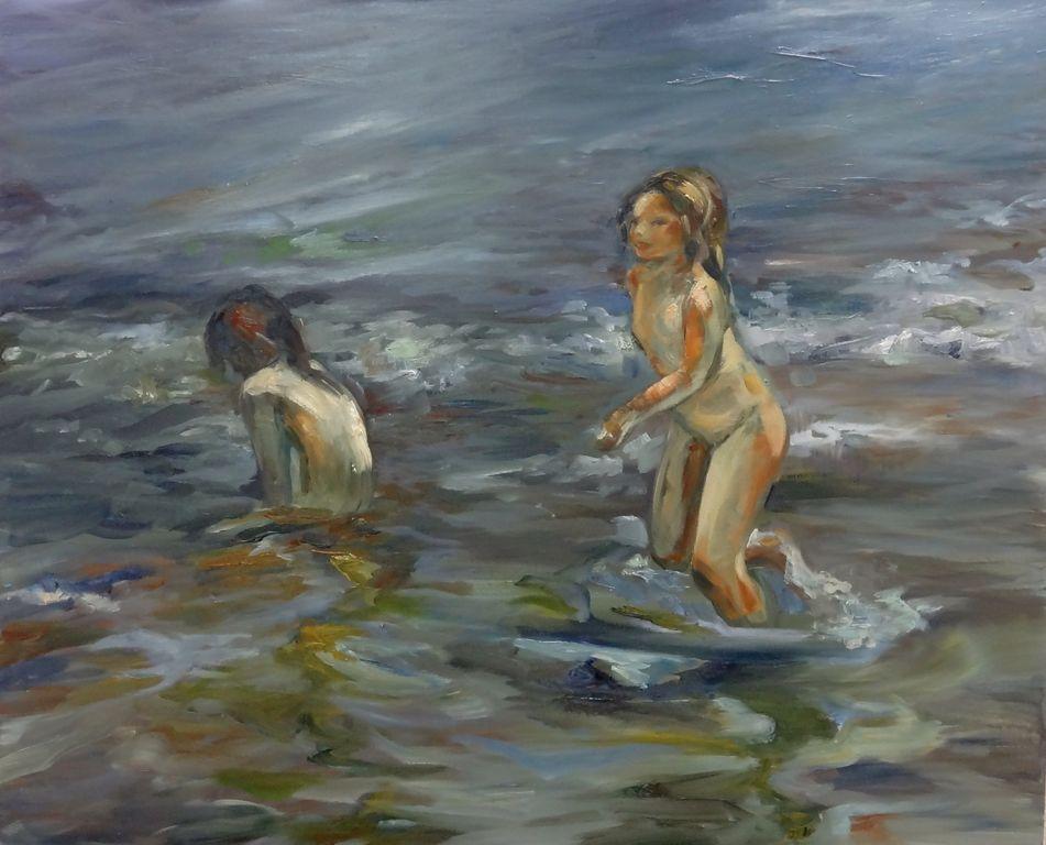 Bañandose | Ninas Banandose En La Playa Alicia Dominguez Artelista Com