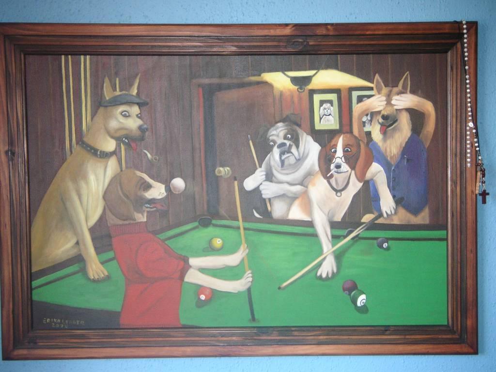 Perros Jugando Poker Pintura Lynne Black Jack Black