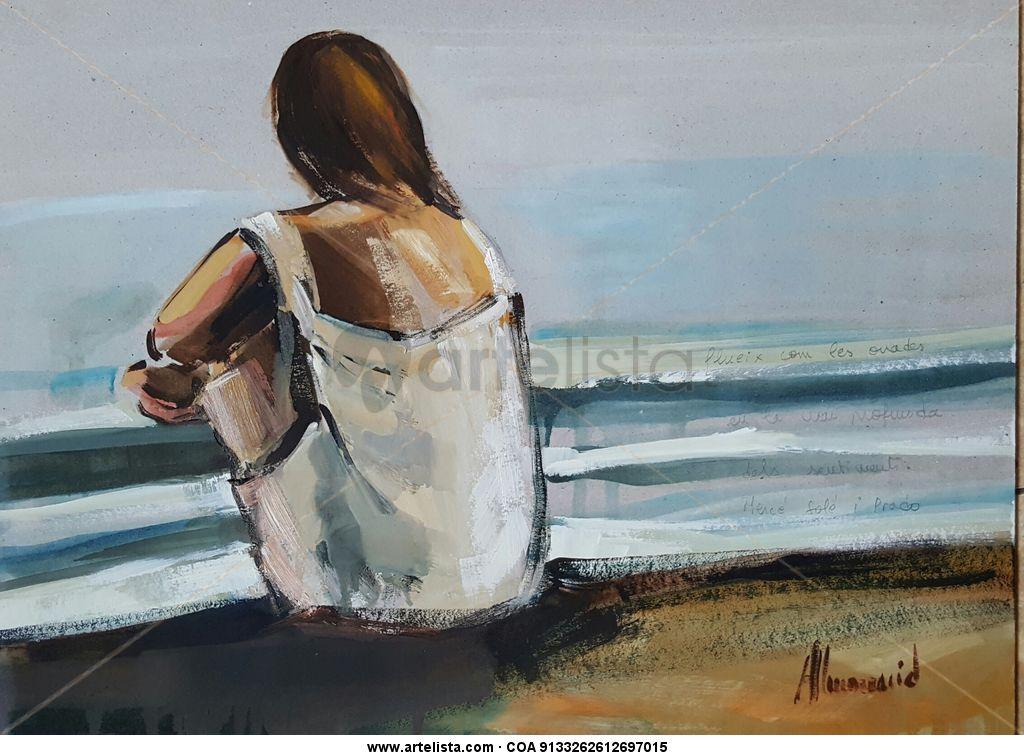 Mujer Mirando El Mar Montse Almonacid Cebrian Artelista Com