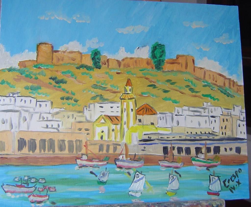Alcazaba de almeria leo sobre lienzo en bastidor 46x38 - Lienzo sobre bastidor ...