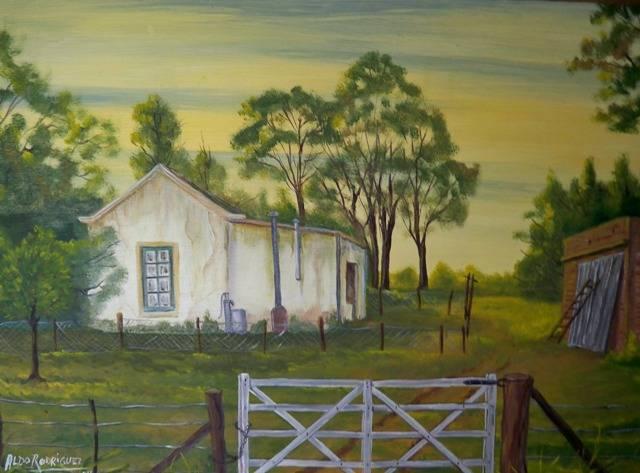 Casa de campo leo 40x50 aldo rodriguez for Pinturas para casas de campo