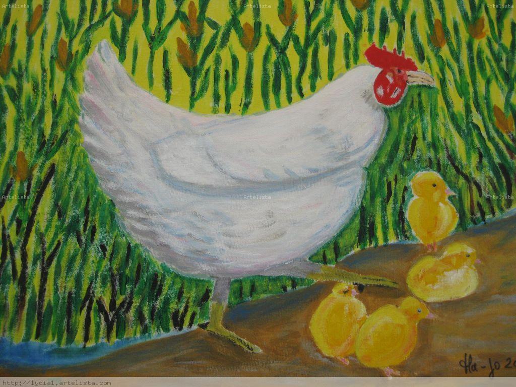 La gallina y sus pollitos lydia gonzales - Artelista.com
