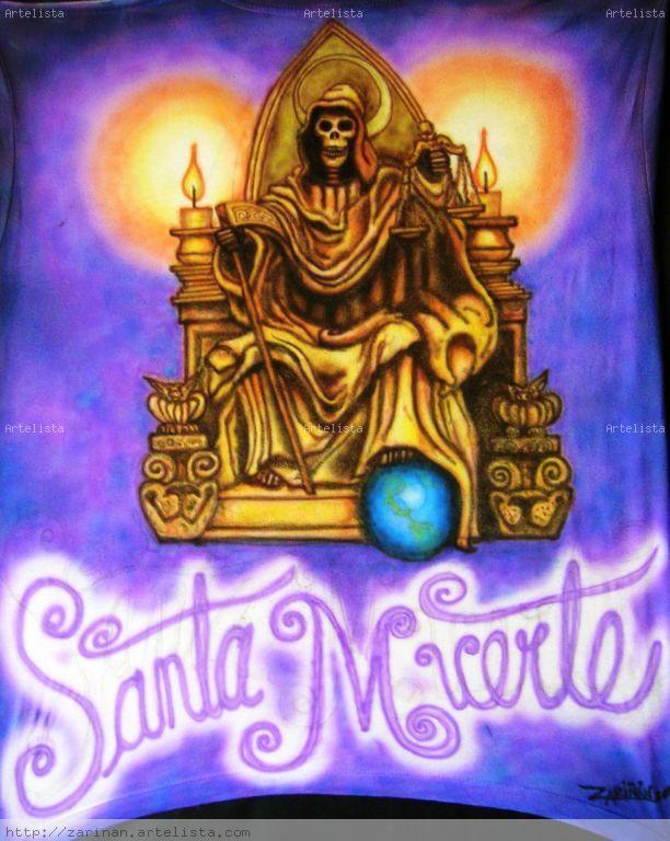 la Santa Muerte (playeras aerografiadas) saúl zariñán lópez
