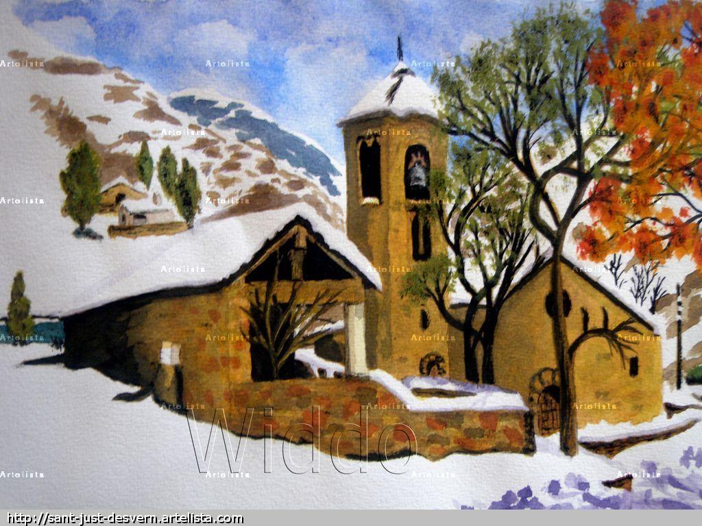 Paisaje nevado reproduccion lienzo bastidor mannu widdo - Paisajes nevados para pintar ...