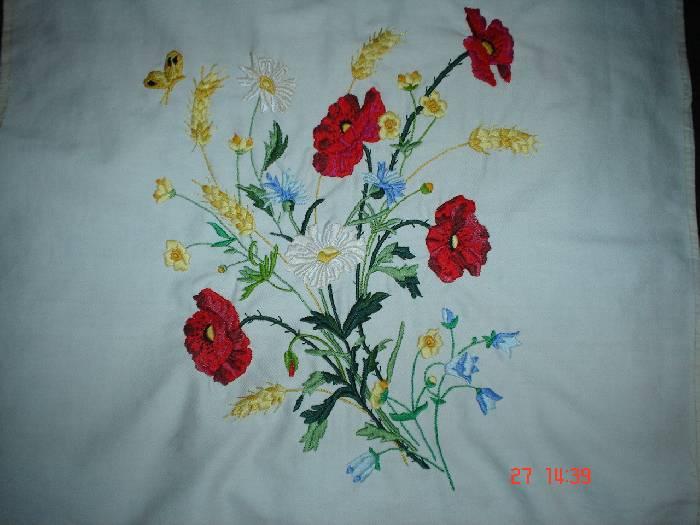 Cojin de flores silvestres Bordados Textil