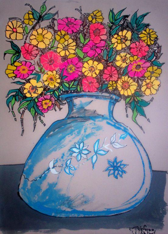 jarron con flores 10 ramiro ernesto jijón franco - Artelista.com