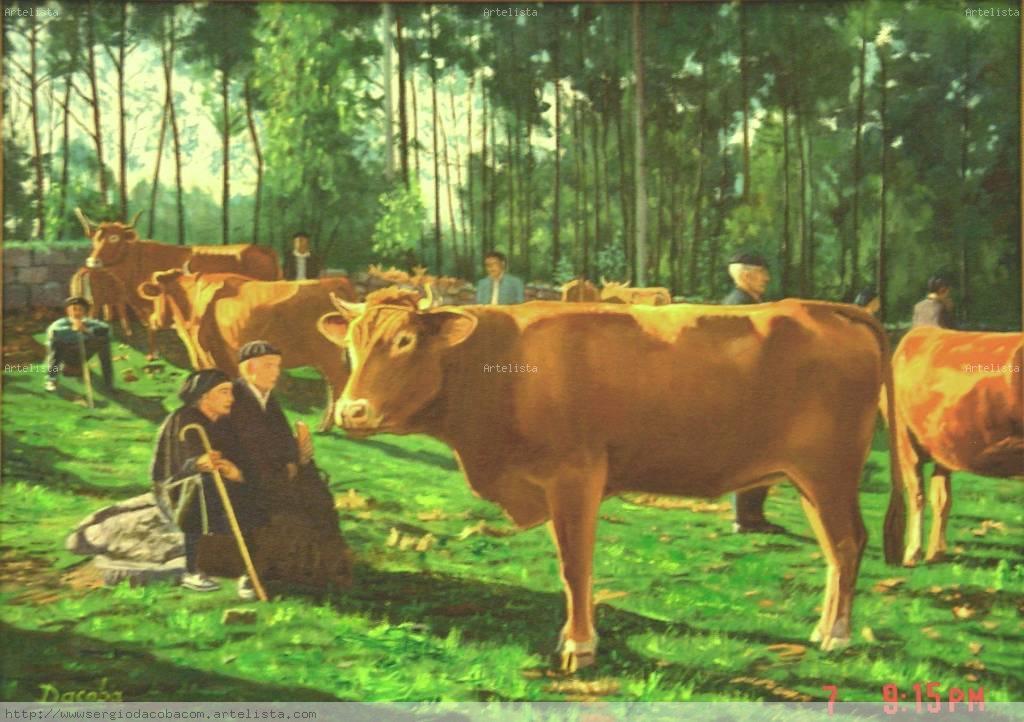 Ganado en la feria sergio sanchez dacoba - Cuadros de vacas ...