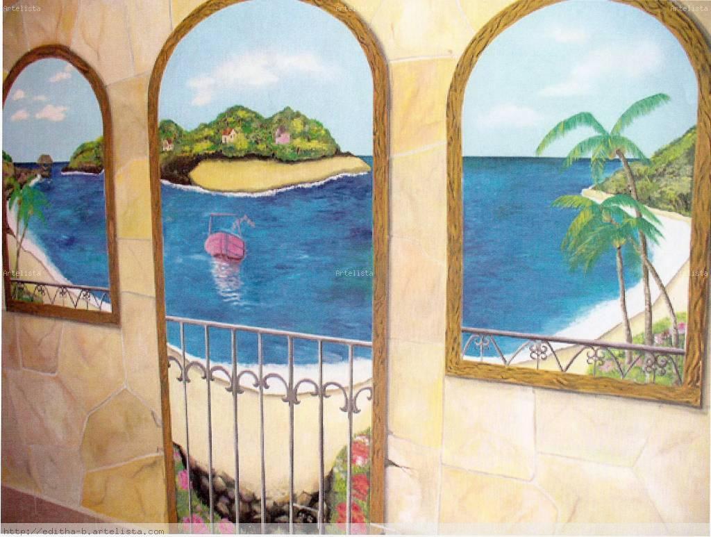 Pintura mural de un paisaje de panam editha bethancourt for Murales de pared de paisajes