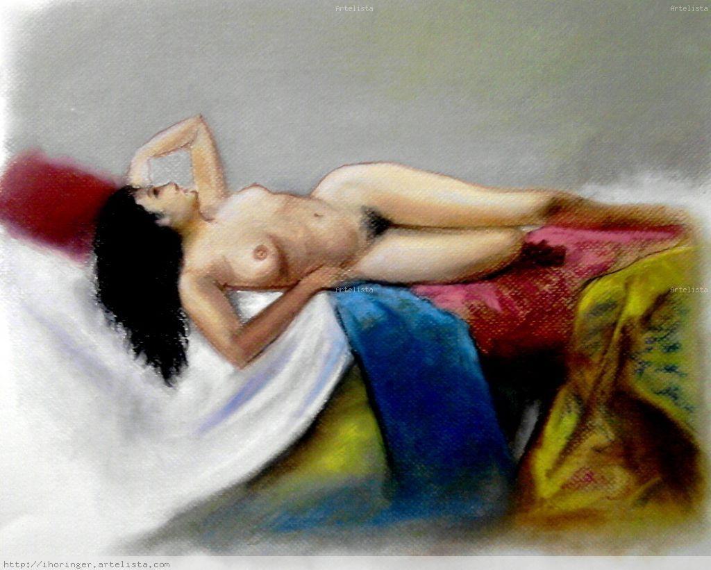 1er Boceto Mujer Desnuda Tumbada Sobre Telas Inma Horinger