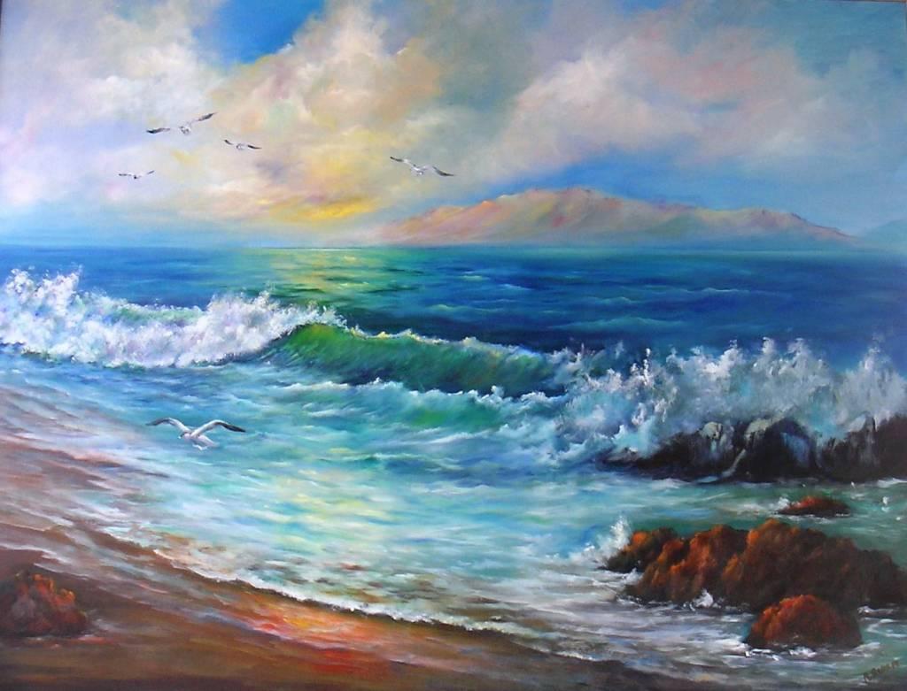 Cuadros de mujeres en la playa pintadas al oleo pinturas - Ver colores de pinturas ...