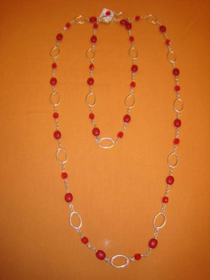 Collar de cristales rojos y facetadas con cadenas Bisutería Joyería y Bisutería