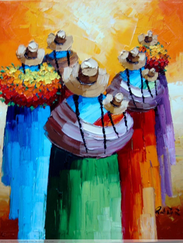 cholitas Óleo Lienzo Paisaje
