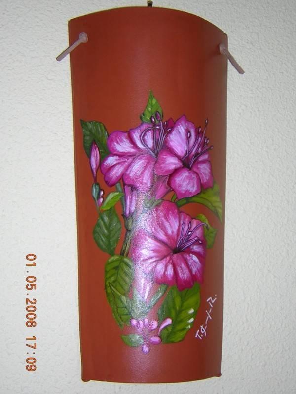 Teja con flores tom s jos carvajal rosado - Pintura para tejas ...