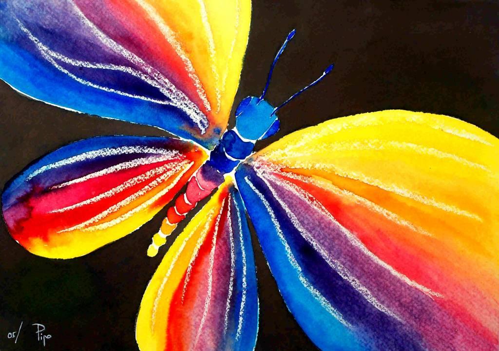Mariposa arco iris pipo jost nicolas - Cuadros colores vivos ...