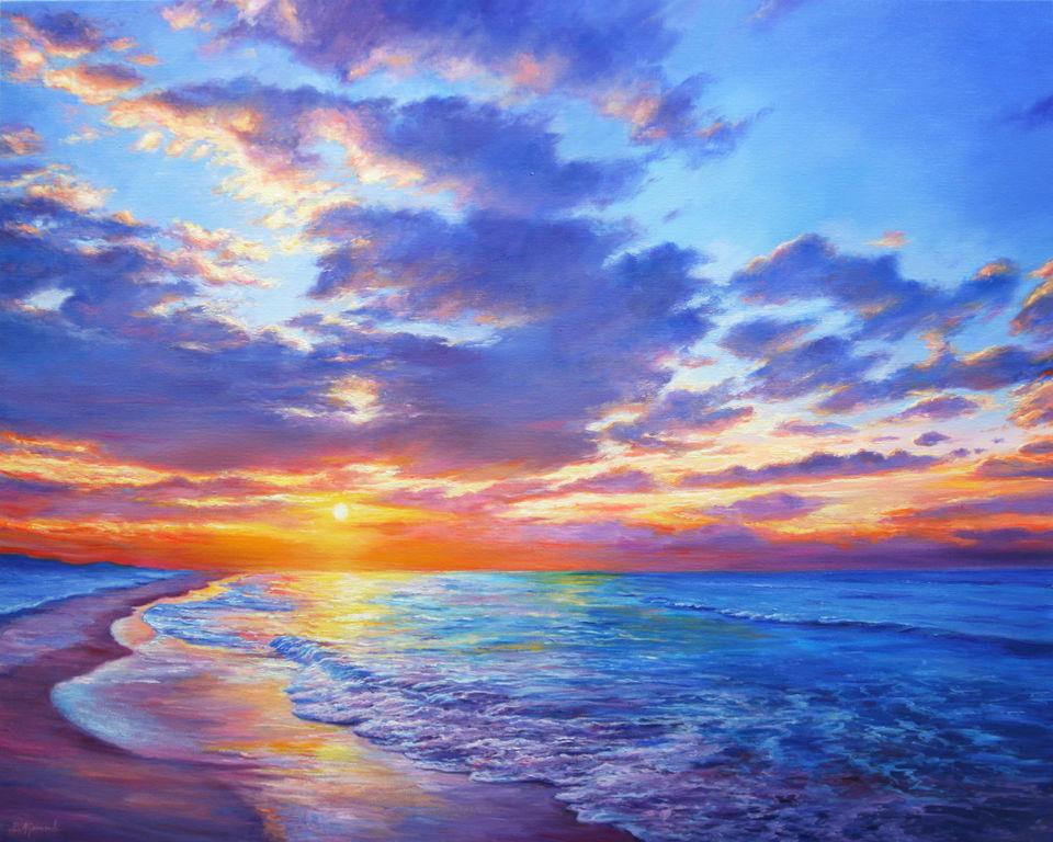 Sunset Dreams Lienzo Óleo Marina