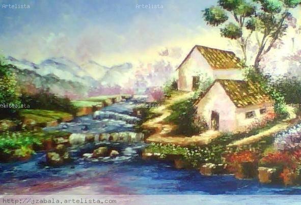Paisaje espatulado ultramarino judith zabala davila - Paisaje con colores calidos ...